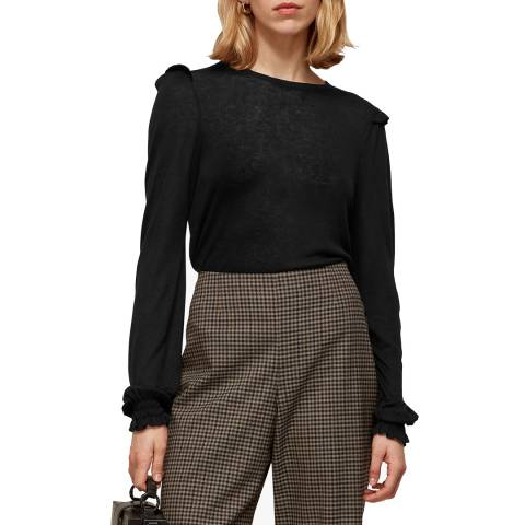 WHISTLES Black Frill Wool Blend Knit Top