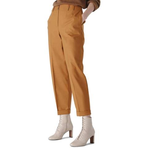 WHISTLES Tobacco Tapered Button Front Trousers