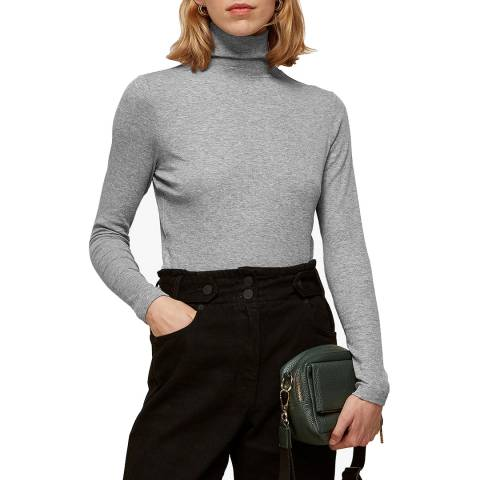 WHISTLES Grey Essential Polo Knit Top