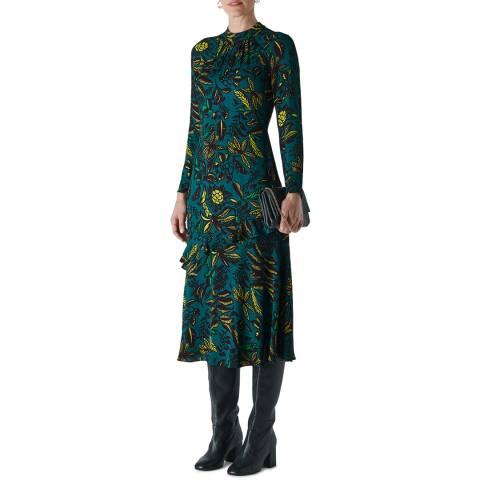 WHISTLES Green/Multi Assorted Leaves Dress