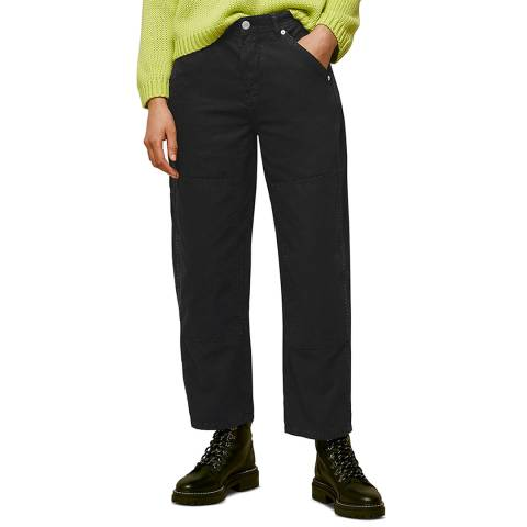 WHISTLES Black Cargo Panel Detail Cotton Trousers