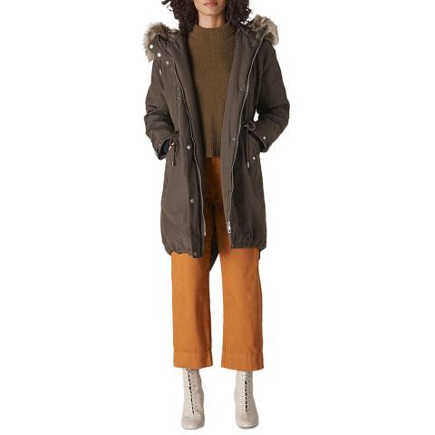 WHISTLES Grey Cleo Casual Cotton Blend Parka
