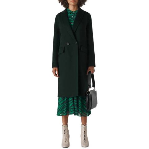 WHISTLES Forest Double Faced Wool Blend Coat