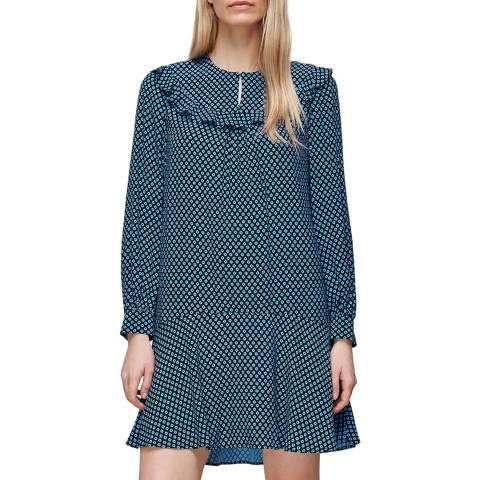 WHISTLES Blue Daisy Print Frill Dress