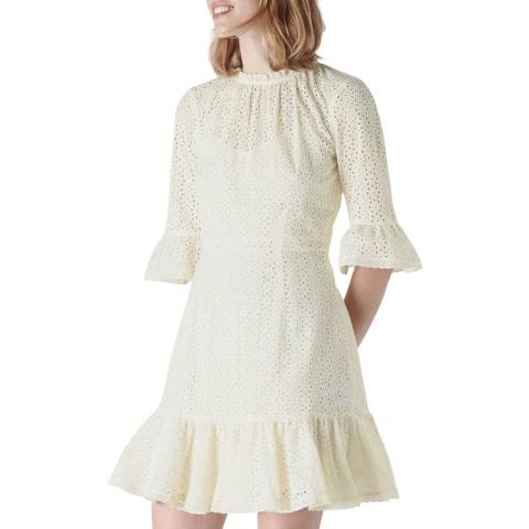 WHISTLES Ivory Augustina Broderie Cotton Dress