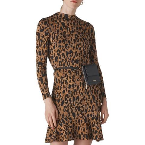 WHISTLES Multi Animal Jersey Flippy Dress