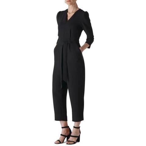 WHISTLES Black Hallie Zip Crepe Jumpsuit