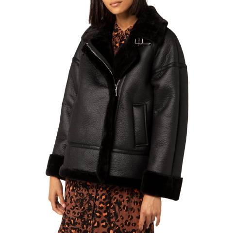 WHISTLES Black Faux Fur Biker Jacket