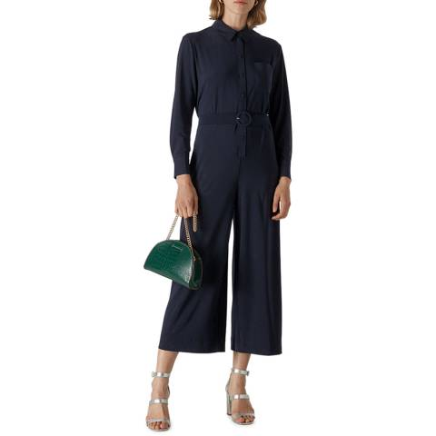 WHISTLES Navy Tailored Jersey Jumpsuit