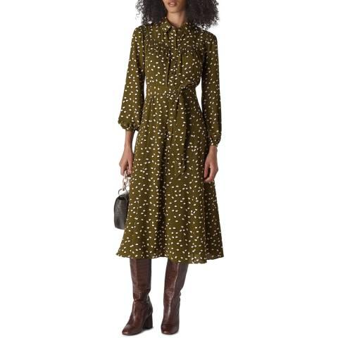 WHISTLES Khaki Shadow Spot Shirt Dress
