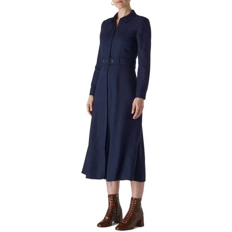 WHISTLES Navy Military Shirt Dress