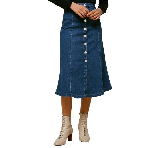 WHISTLES Dark Blue Button Cotton Denim Skirt