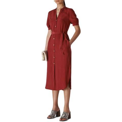 WHISTLES Soft Red Dana Shirt Dress
