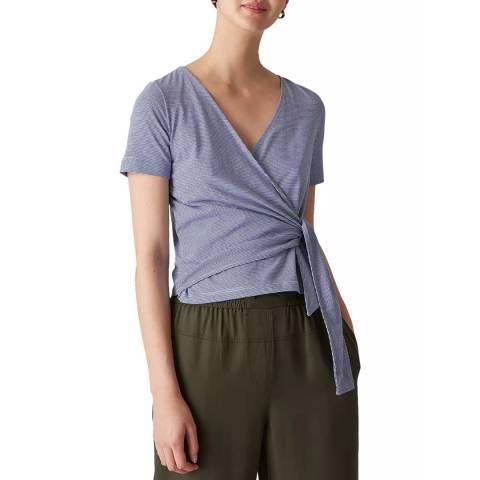 WHISTLES Multi Stripe Wrap Cotton Cardigan