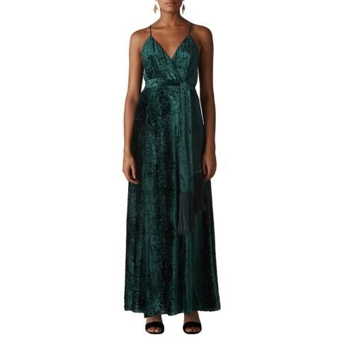 WHISTLES Dark Green Velvet Devore Maxi Dress