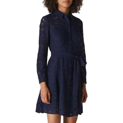 WHISTLES Navy Oliviana Lace Mini Dress