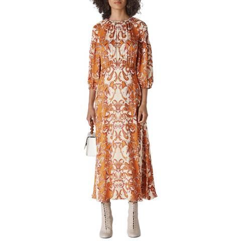 WHISTLES Orange Baroque Print Silk Dress