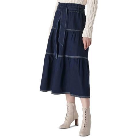 WHISTLES Indigo Hilde Tiered Cotton Denim Skirt