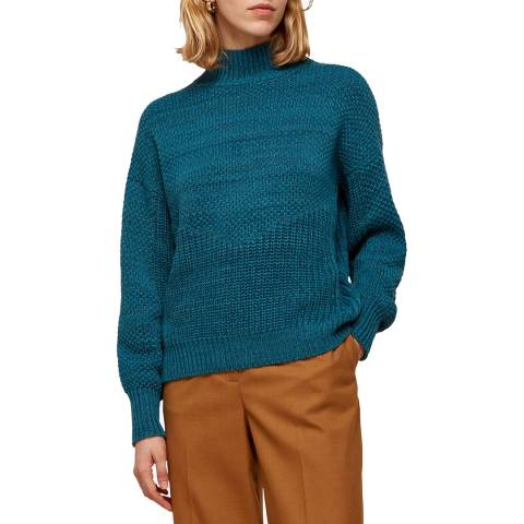 WHISTLES Teal Textured Wool/Cotton Jumper