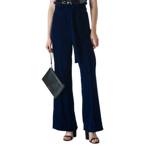WHISTLES Blue Tie Waist Wide Leg Trousers