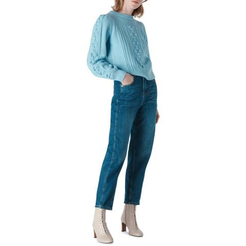 WHISTLES Blue Puff Sleeve Cable Jumper
