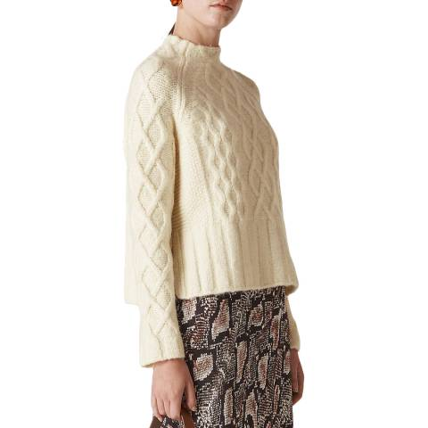 WHISTLES Ivory Cable Knit Wool/Cotton Jumper