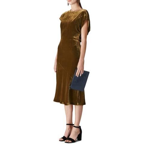 WHISTLES Gold Mina Silk Blend Dress