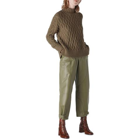WHISTLES Khaki Cable Knit Wool/Cotton Jumper