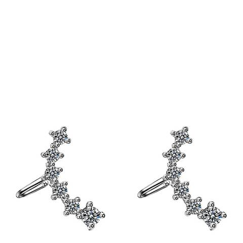 Liv Oliver Silver Plated Cubic Zirconia Ear Climber Cuff Earrings