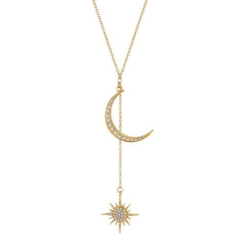 Liv Oliver 18K Rose Gold Plated Star And Moon Necklace