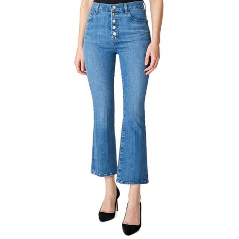 J Brand Mid Blue Lillie Button Flared Stretch Jeans