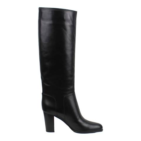 Sergio Rossi Black Luxe Leather Knee High Heeled Boots
