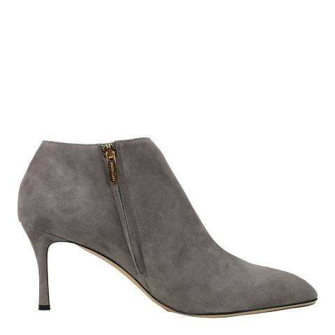 Sergio Rossi Foggy Grey Suede Leather Heeled Ankle Boots