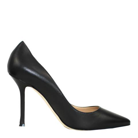 Sergio Rossi Black Leather Heeled Courts
