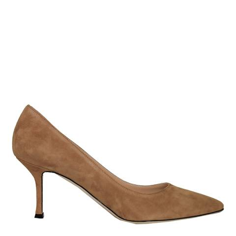 Sergio Rossi Tan Suede Heeled Courts