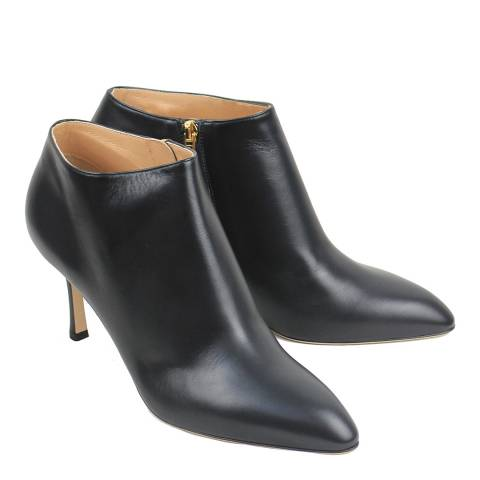 Sergio Rossi Black Calf Leather Heeled Ankle Boots