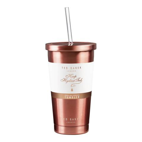 Ted Baker Tumbler and Straw 480ml Rose Gold