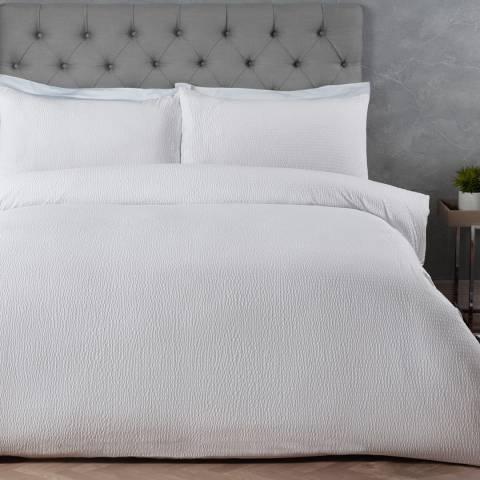 Sleepdown Seersucker Double Duvet Cover Set, White