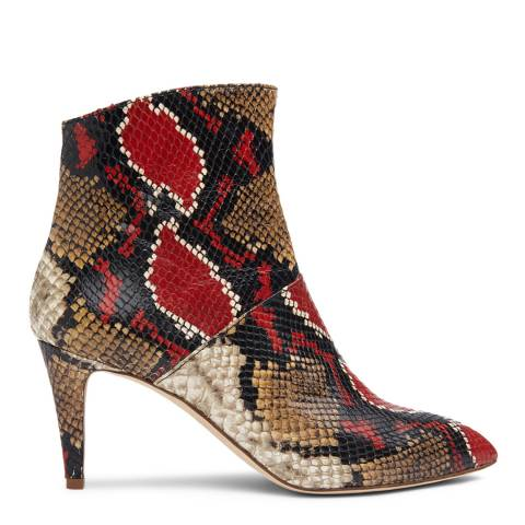 L K Bennett Red Snake Effect Bethan Ankle Boots