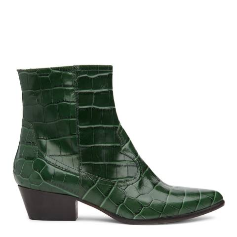 L K Bennett Green Forest Croc Effect Choral Ankle Boots