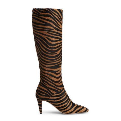 L K Bennett Natural Zebra Calfhair Gini Knee Boots