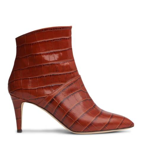 L K Bennett Caramel Croc Effect Bethan Ankle Boots