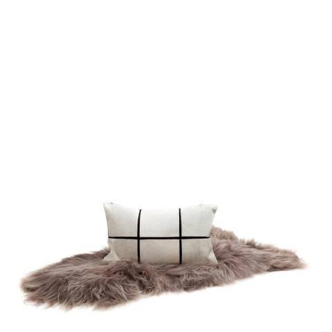 AUSKIN Cushion Cow PARCELE 30 X 50cm Grey Leather/ Black Cotton