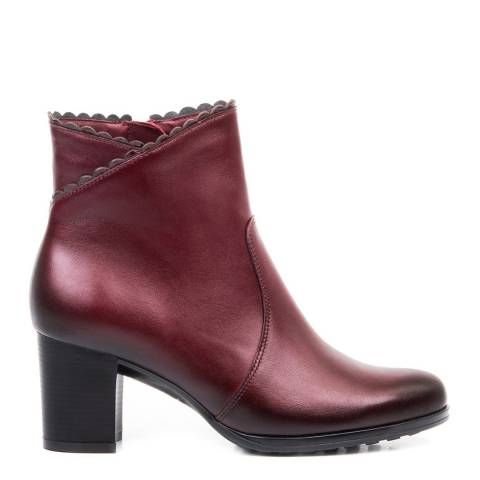Belwest Bordeaux Scallop Edge Leather Ankle Boots