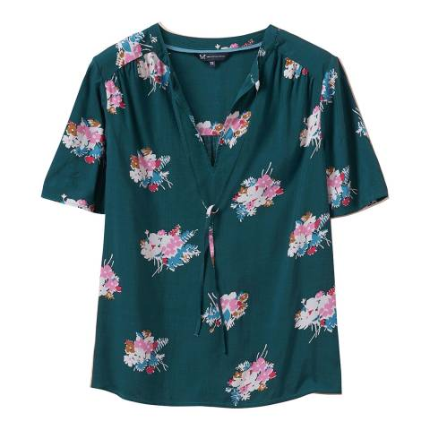Crew Clothing Green Floral Phoebe Top