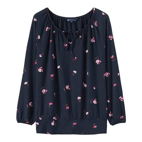 Crew Clothing Navy Posy Jersey Top