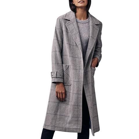 Crew Clothing Grey Check Ete Ruth Coat