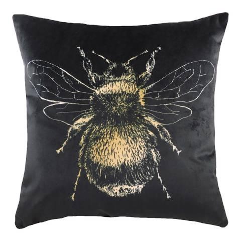 Evans Lichfield Gold Bee Cushion  43x43cm, Black