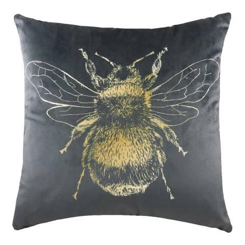 Evans Lichfield Gold Bee Cushion  43x43cm, Grey
