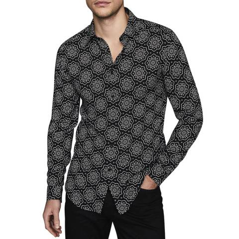 Reiss Black Bosco Slim Fit Print Shirt